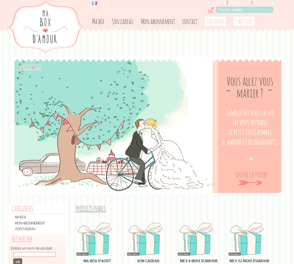 "webdesign et illustration pour  ""ma box d'amour"" © Faustine"