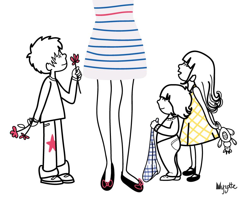 Myzotte, la maman et ses 3 enfants chéris !